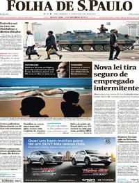 Capa do jornal Folha de S.Paulo 16/11/2017