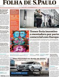 Capa do jornal Folha de S.Paulo 17/11/2017