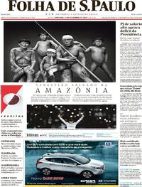Capa do jornal Folha de S.Paulo 17/12/2017