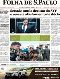 Capa do jornal Folha de S.Paulo 18/10/2017