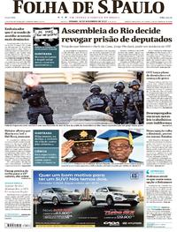 Capa do jornal Folha de S.Paulo 18/11/2017