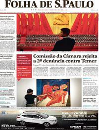 Capa do jornal Folha de S.Paulo 19/10/2017