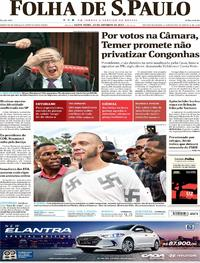 Capa do jornal Folha de S.Paulo 20/10/2017