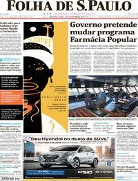 Capa do jornal Folha de S.Paulo 20/11/2017