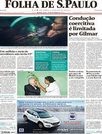 Capa do jornal Folha de S.Paulo 20/12/2017