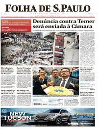 Capa do jornal Folha de S.Paulo 21/09/2017