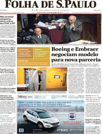 Capa do jornal Folha de S.Paulo 22/12/2017