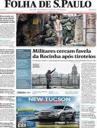 Capa do jornal Folha de S.Paulo 23/09/2017