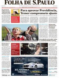 Capa do jornal Folha de S.Paulo 23/11/2017