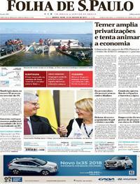 Capa do jornal Folha de S.Paulo 24/08/2017