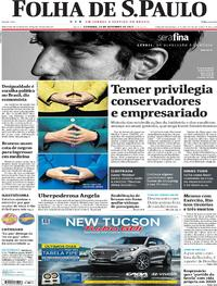 Capa do jornal Folha de S.Paulo 24/09/2017