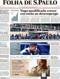 Capa do jornal Folha de S.Paulo 24/10/2017