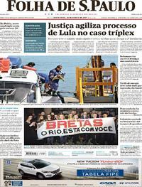 Capa do jornal Folha de S.Paulo 25/08/2017