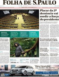 Capa do jornal Folha de S.Paulo 25/10/2017