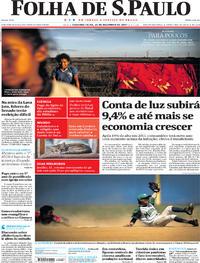 Capa do jornal Folha de S.Paulo 25/12/2017