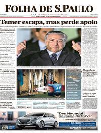Capa do jornal Folha de S.Paulo 26/10/2017