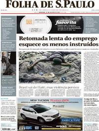 Capa do jornal Folha de S.Paulo 27/08/2017