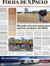 Capa do jornal Folha de S.Paulo 27/10/2017