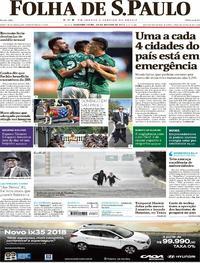 Capa do jornal Folha de S.Paulo 28/08/2017