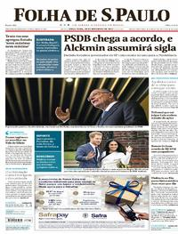 Capa do jornal Folha de S.Paulo 28/11/2017