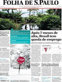 Capa do jornal Folha de S.Paulo 28/12/2017