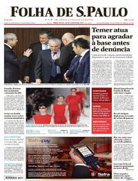 Capa do jornal Folha de S.Paulo 29/08/2017