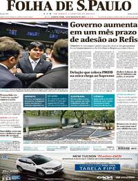 Capa do jornal Folha de S.Paulo 30/08/2017