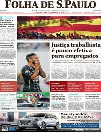 Capa do jornal Folha de S.Paulo 30/10/2017