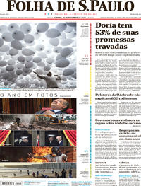 Capa do jornal Folha de S.Paulo 30/12/2017