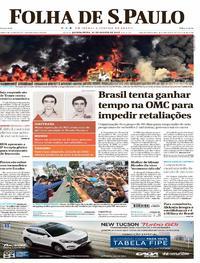 Capa do jornal Folha de S.Paulo 31/08/2017