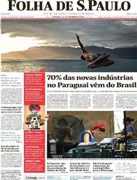 Capa do jornal Folha de S.Paulo 31/12/2017