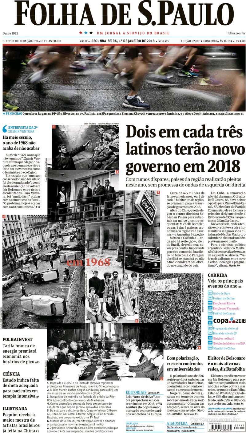 Capa do jornal Folha de S.Paulo 01/01/2018