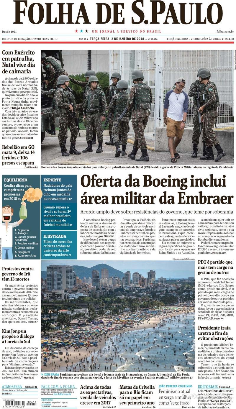 Capa do jornal Folha de S.Paulo 02/01/2018