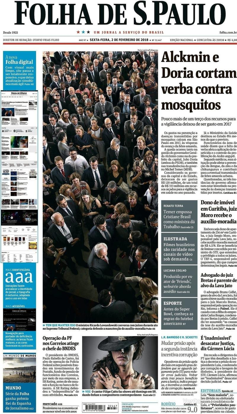 Capa do jornal Folha de S.Paulo 02/02/2018