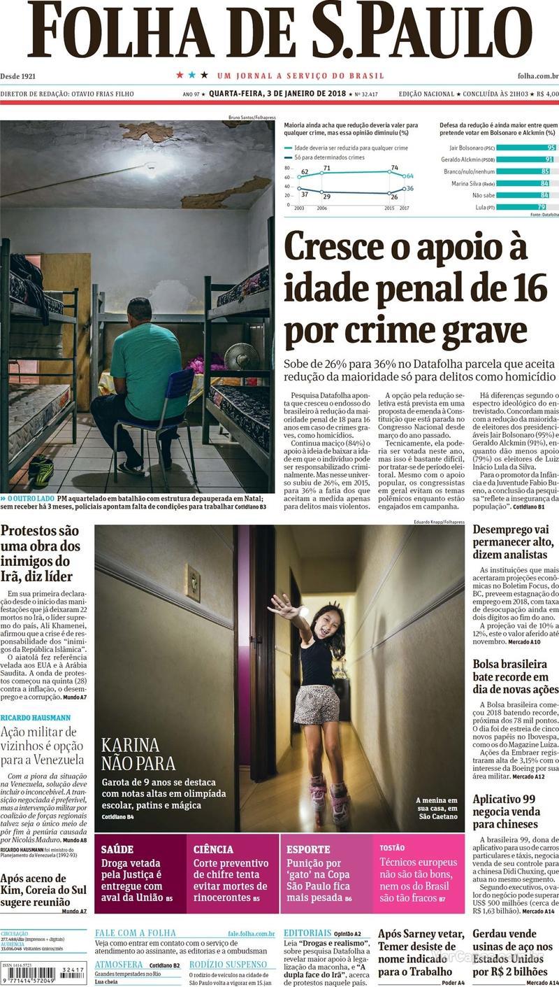 Capa do jornal Folha de S.Paulo 03/01/2018