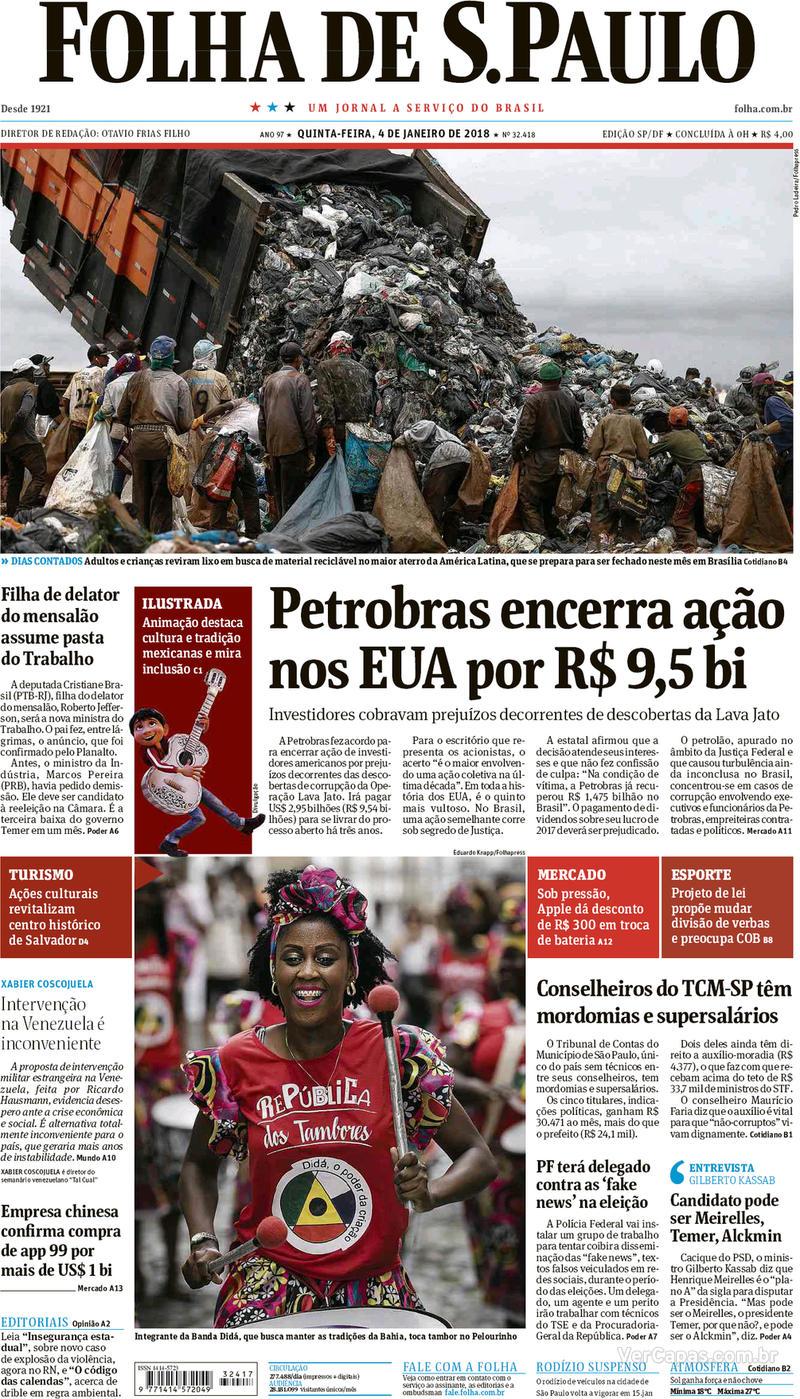 Capa do jornal Folha de S.Paulo 04/01/2018