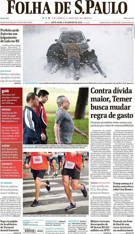 Capa do jornal Folha de S.Paulo 05/01/2018