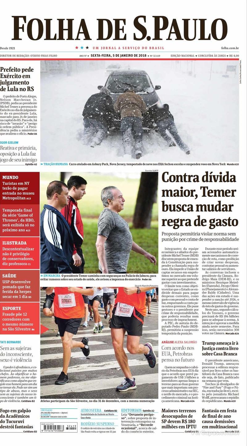 Capa do jornal Folha de S.Paulo 06/01/2018
