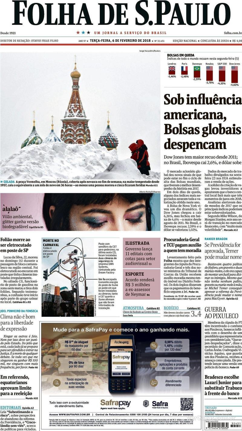 Capa Folha de S.Paulo 2018-02-06