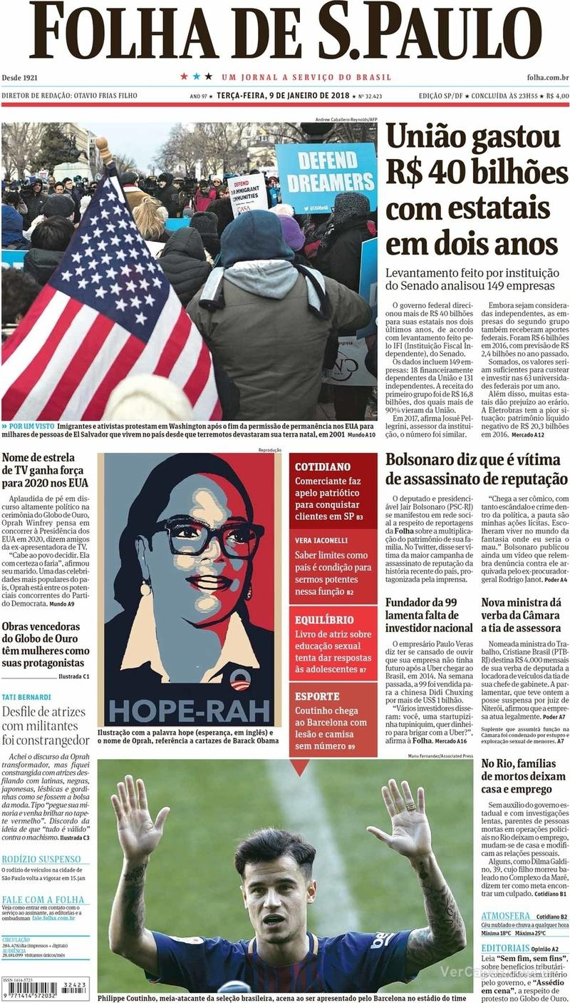 Capa do jornal Folha de S.Paulo 09/01/2018