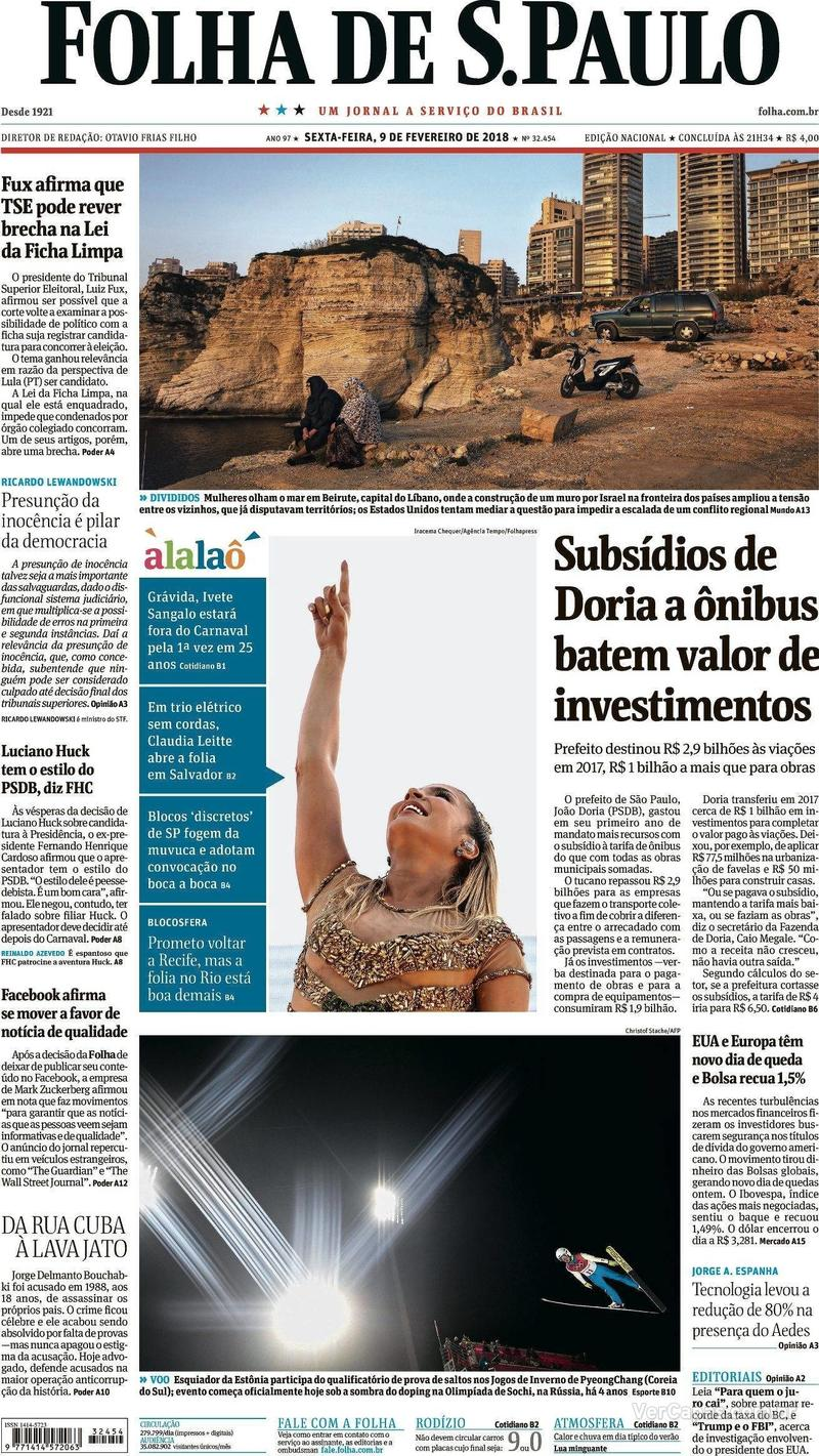 Capa do jornal Folha de S.Paulo 09/02/2018