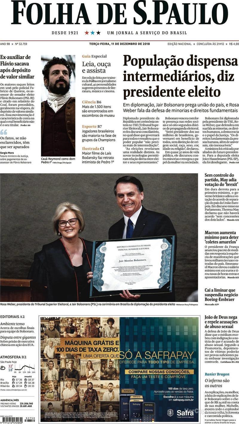 Capa Folha de S.Paulo 2018-12-11
