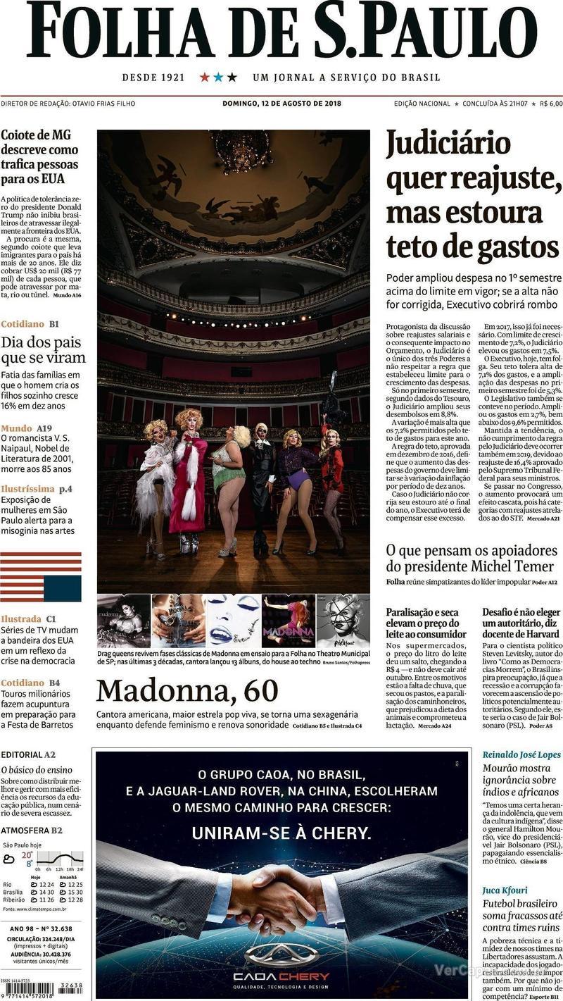 Capa Folha de S.Paulo 2018-08-12