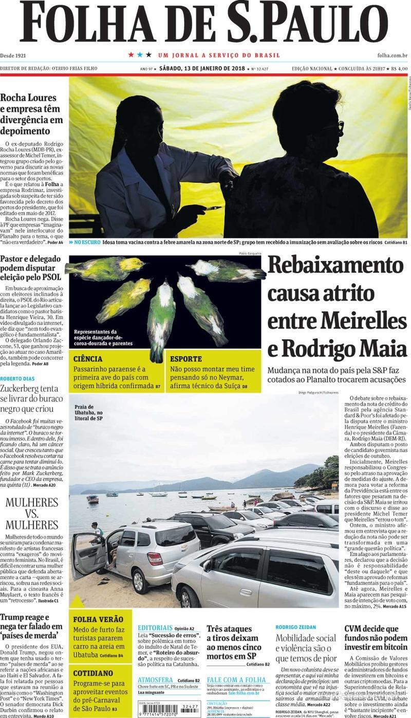 Capa do jornal Folha de S.Paulo 13/01/2018