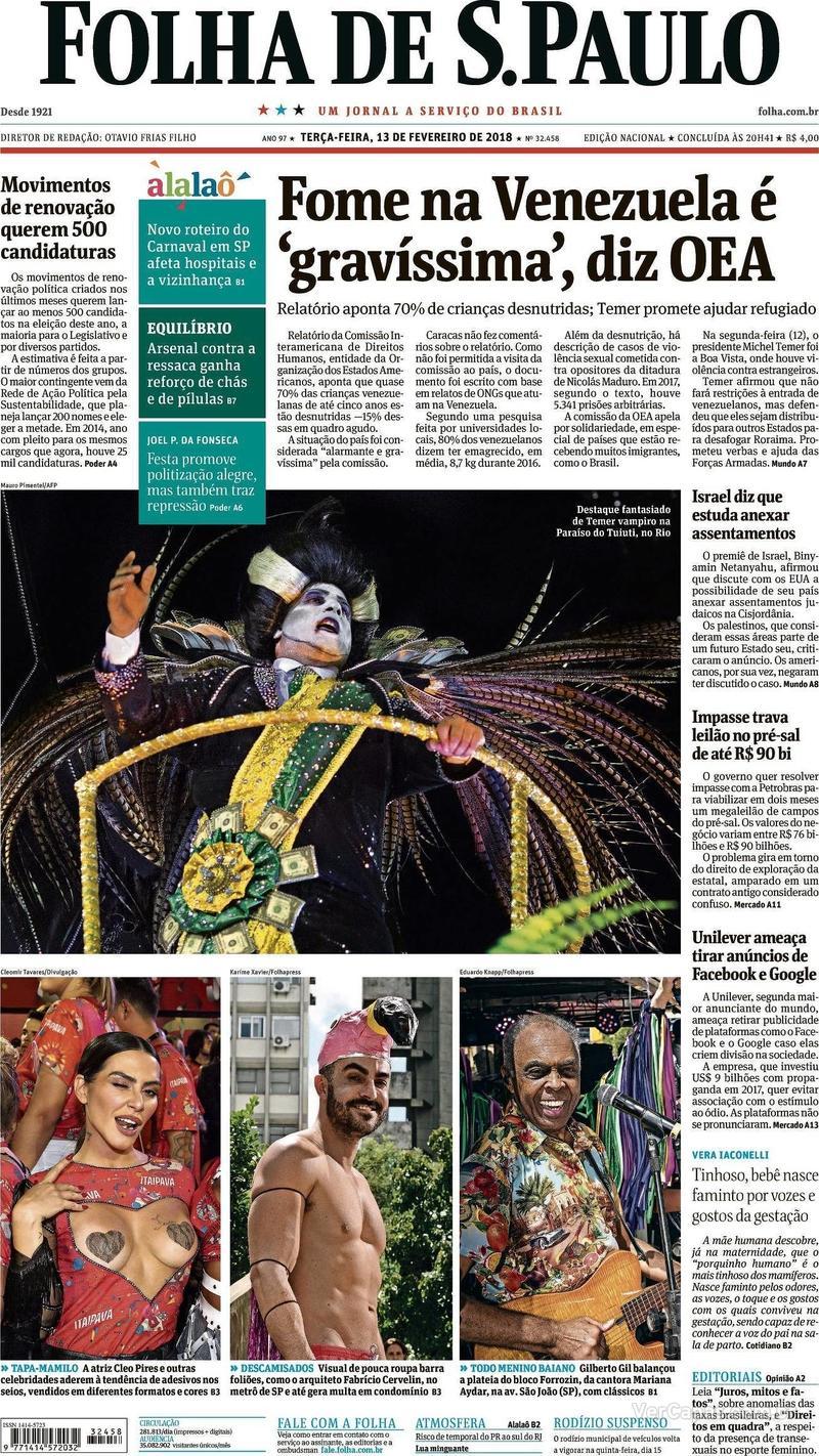 Capa do jornal Folha de S.Paulo 13/02/2018