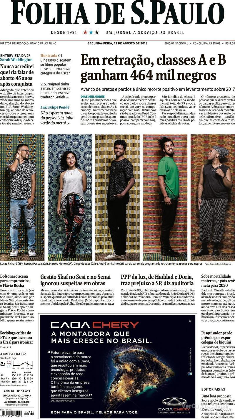 Capa Folha de S.Paulo 2018-08-13
