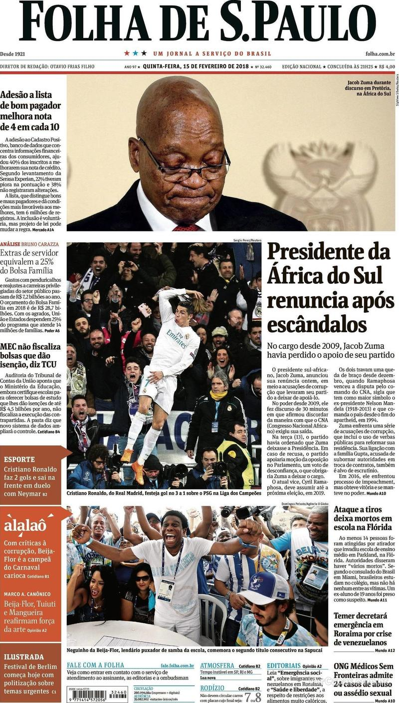 Capa Folha de S.Paulo 2018-02-15