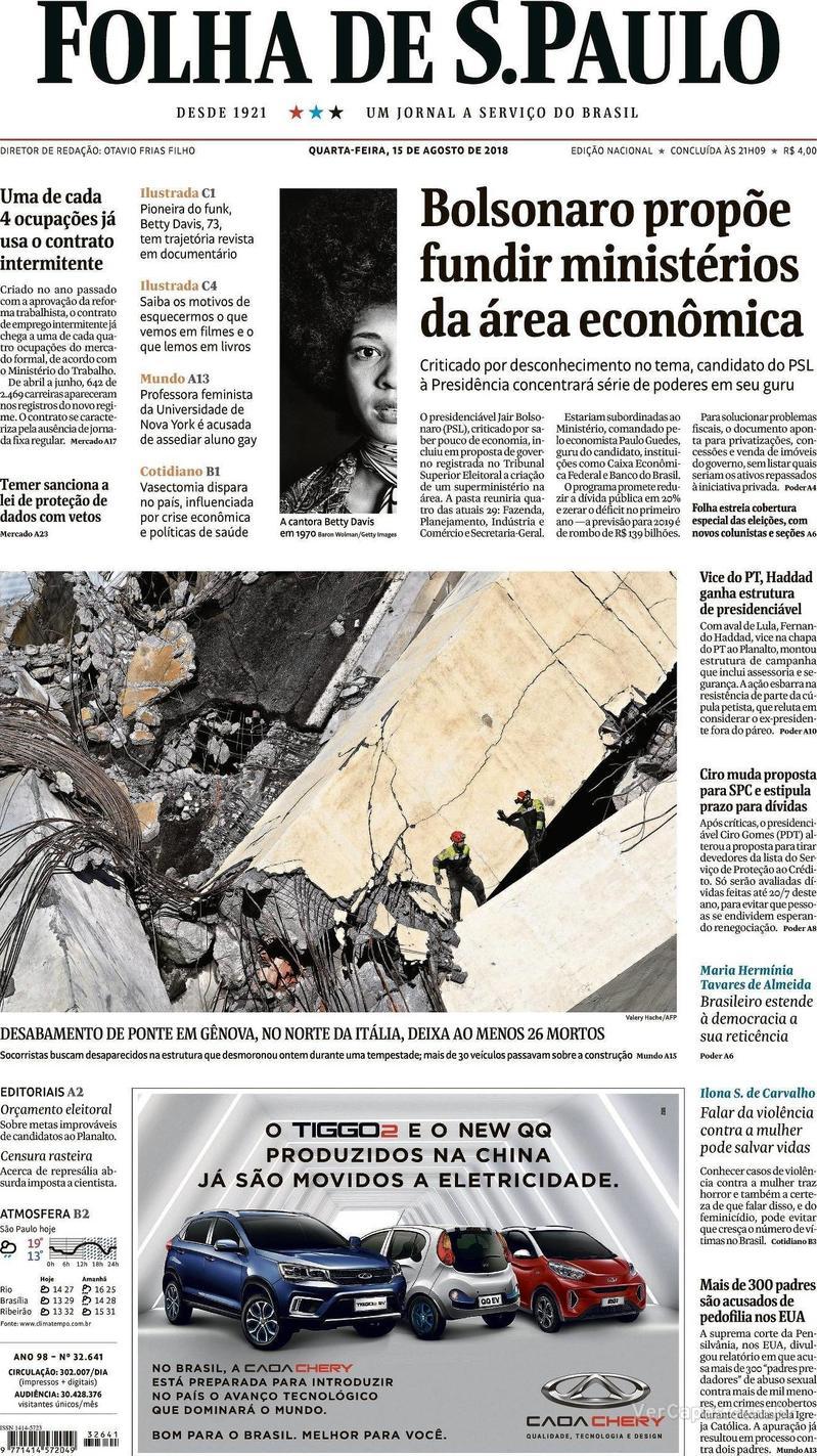 Capa Folha de S.Paulo 2018-08-15