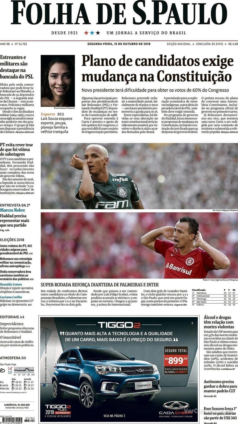 Capa Folha de S.Paulo 2018-10-15