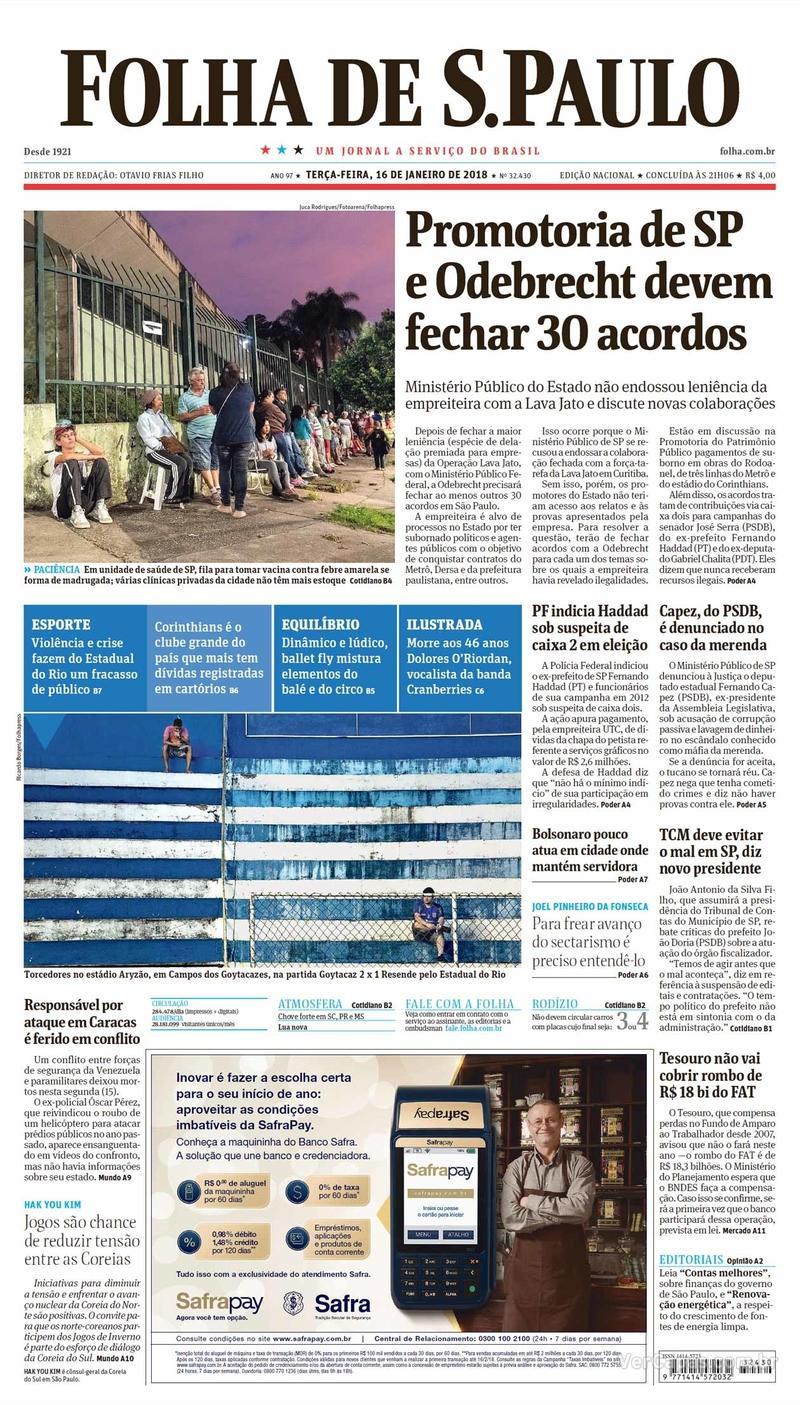 Capa do jornal Folha de S.Paulo 16/01/2018